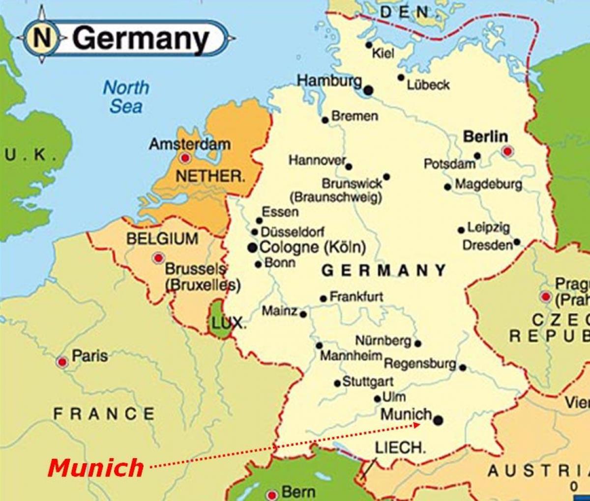 Munchen Terkep Europa Terkep Munchen Europa Bajororszag